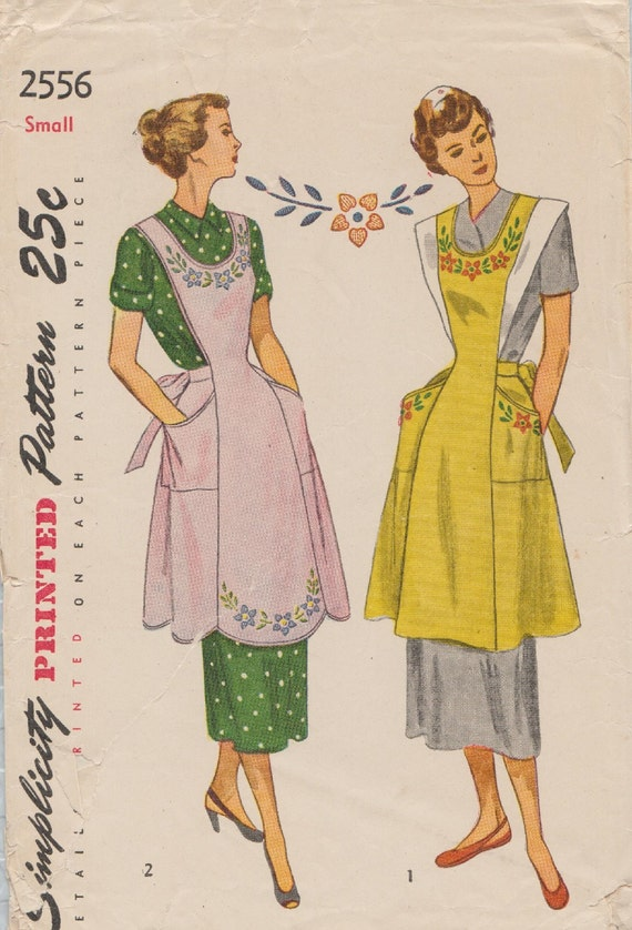 Simplicity 2556 / Vintage 40s Sewing Pattern / Apron Pinafore