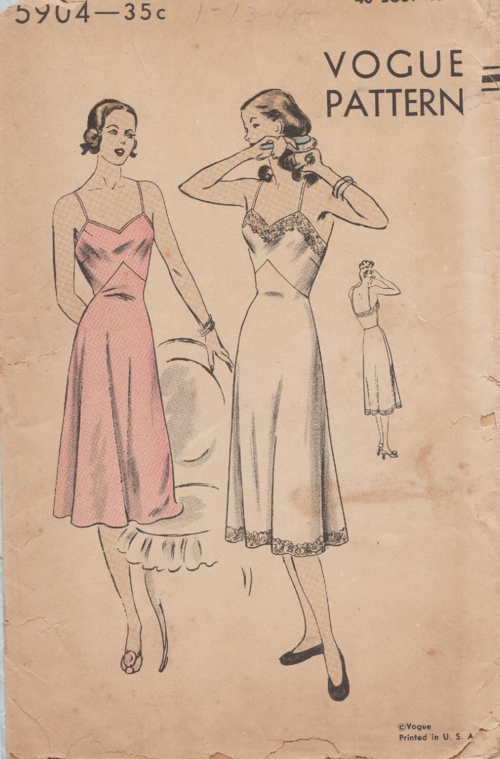 Vintage 40s Sewing Pattern / Vogue 5904 / Full Slip / Lingerie