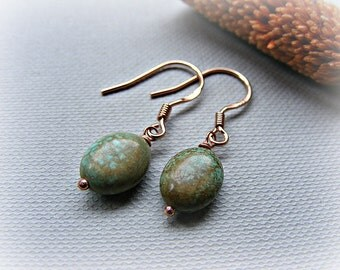 Turquoise earrings, turquoise rose gold vermeil earrings, green turquoise drop earrings, petite turquoise dangle earrings, dainty earrings