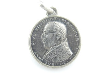 Vintage Pope Pius XII - Guardian Angels Catholic Medal - Papal Medallion - Religious Charm - Anno Santo  - Catholic Jewelry W84