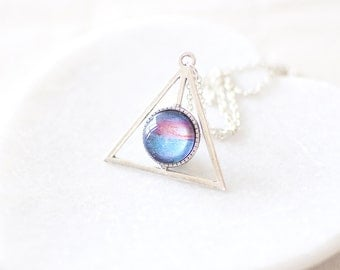 Blue and Pink Galaxy Necklace. Triangle Necklace. Nebula Cameo Necklace. Space Necklace. Universe Necklace. Galaxy Jewelry.