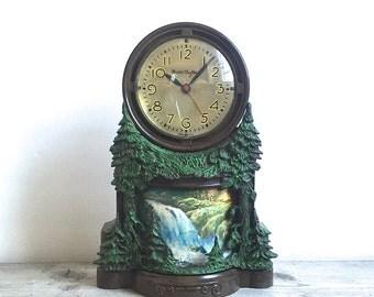 Mastercrafters Clock Waterfall  Motion Mantle Clock Night Light Working