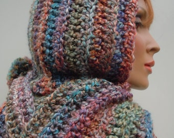 Hooded Scarf, Painted Desert Pixie Hood, Hat and Scarf Set, Womens Scarf, Crochet Hood