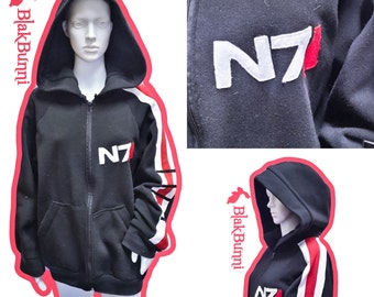 MADE TO ORDER Mass effect Commander  Shepard Elite stripe N7 inspired hoodie
