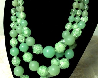 Vintage 1950's Lime Green Necklace, Three (3) Strand Acrylic / Lucite Necklace, Multi Strand, Mid Century, Retro, Hong Kong, VisionsOfOlde