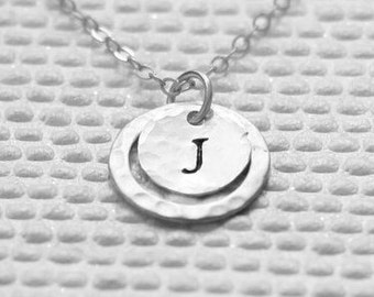 Personalized Eternity Necklace, Sterling Silver Initial Eternity Necklace, Hammered Ring, Karma Necklace