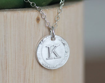 Vintage Inspired Initial Necklace, Personalized Wax Seal Charm Necklace, Typewriter Font, Sterling Silver, Uppercase