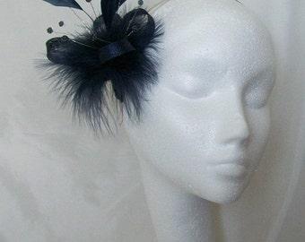 Midnight Navy Blue Feather Sinamay & Crystal Mini Fascinator Wedding Hair Comb - Custom made to Order
