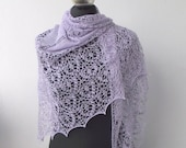 Lilac hand knitted luxurious  silk lace shawl