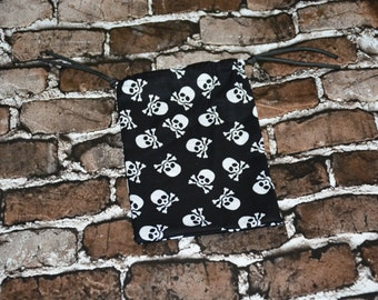 Skull and Cross Bones Drawstring bag/ Goody Bag/ Party Favor/ Birthday Party/ RPG/ DND/ Dice Bag/ Accessory Bag/ Gift for Her/ Gift for Him