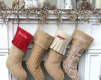 Personalized Elegant Burlap Christmas Stockings Print Moroccan Modern Diamond Ruffle Cuff Country Chic Rustic Sheek Personalized Embroidered