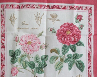Ulster Weavers Tea Towel Antique Roses Pink Irish Linen never used Royal Warrant