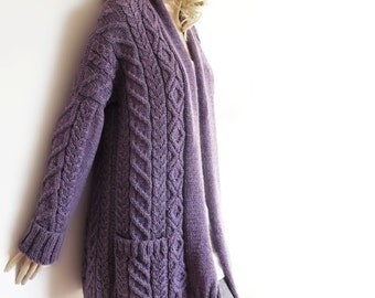 Women's Cable Knit Sweater, Knitted Alpaca and Wool Cardigan, SAMPLE SALE READY to Ship