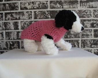 Pink dog sweater, xs dog sweater, small pet sweater,crochet pet sweater, classic dog sweater