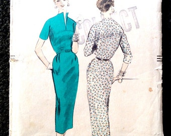 Vintage 1954 Vogue Pattern #8233 Dress With Stand Away Neckline B32 H35