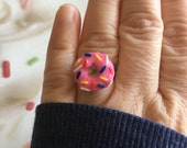 Strawberry Frosted Donut Ring - Donut Ring - Pink Ring - Food Jewelry - Miniature - Adjustable Ring - Under 10 dollars - Gift - Funky