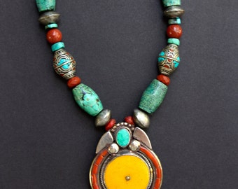 Vintage Tibetan Copal and Turquoise Pendant Necklace w Large Vintage Turquoise Beads Silver and Coral Ethnic Boho Gemstone Jewelry