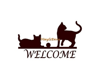 Welcome with Cats - Wall Decal - Vinyl Wall Decals, Wall Decor, Welcome Decal, Welcome Sign, Cat Decal, Cat Decor