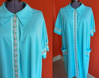 Vintage 1970s Floral Lace Nightgown Blue Peignoir Robe - L / XL
