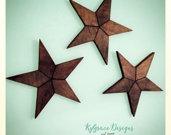 Set of three Rustic Wood Stars Can be stained, painted or left unfinished Select finish at checkout