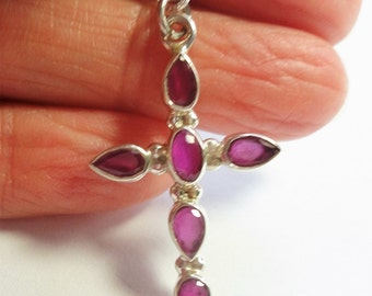 "Ruby Cross Pendant Red Ruby Gemstone Cross Pendant on  16"" Sterling Silver Chain"