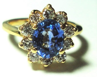 Sapphire Ring AAA Ceylon Sapphire Engagement Ring Sapphire Diamond Ring Ceylon Sapphire Diamond Halo Ring Cocktail Ring in Solid 14K Gold