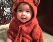 Baby fox Halloween costume. Baby hooded poncho. Girls cape. Children clothes. Baby photo prop. Toddler animal costume. Baby fall outfit.