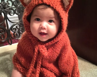 Baby fox poncho. Baby hooded poncho. Girls cape. Children clothes. Car seat cover. Baby photo prop. Baby animal costume. Baby winter outfit.