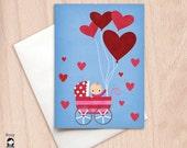 Big Hearts - Baby Girl - New Baby, Congratulations - Blank Greeting Card