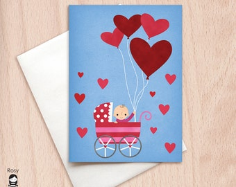Big Hearts - Baby Girl - New Baby, Congratulations - Blank Greeting Card