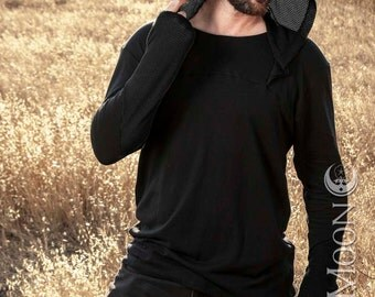 """NEW! Men's """"MeshWork"""" Contrast Knit Hooded Tunic Top in Black/Black by Opal Moon Designs (Size XS-XXL)"""