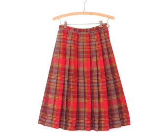 50s Skirt * 1950s Pleated Skirt * Vintage Plaid Midi Skirt * XS