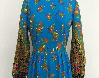 Bright Floral Vintage Dress ladies sz M-L
