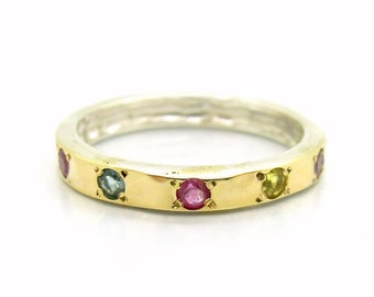 Tourmaline ring set in hammered silver & gold