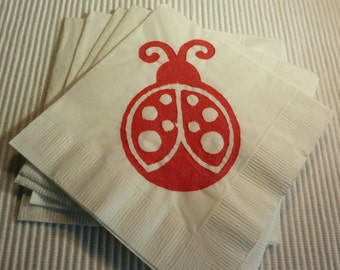 Red Lady Bug Paper Napkins  - Cocktail/Luncheon/Dinner Size - Set of 24