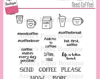 Planner Stamps by Annie's Paper Boutique - Need Coffee! - for Your Filofax, Erin Condren - Clear Stamps, Kawaii, Caffeine, Buzzed, Plans