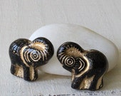 Czech Glass Elephant Beads - Jewelry Making Supplies - Black With Gold Decor - 4 beads