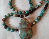 Earthy African Turquoise Pendant necklace