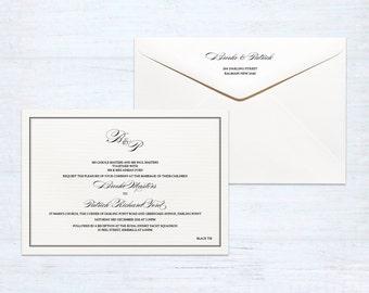 Printed Monogram Wedding Invitation and Envelope Set – Classique – Australia