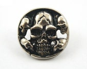10 pcs Zinc Silver Tone Skull Head Steel Rapid Rivet Stud Buttons Concho Leather Craft Decor Fashion Accessories Sizes 21 mm. SK RN40 301