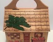 Vintage 1970's Gary Gail of Dallas Wood House Box Purse Handbag