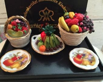 Miniature Deluxe Fruit Set by Reutter Porcelain, Collectible Dollhouse Miniatures, 1:12 Scale, Retired Item, Mini Fruit, Mini Food