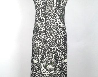 Vintage 1970s Maxi Dress, Women's Novelty Print Dress, Black, Silver, Green, Leopard Print, Polyester, Mandarin Collar, Jungle Mystery Gal!