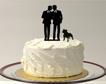 Gay Wedding Cake Topper + DOG Same Sex Mr & Mr Cake Topper 2 Grooms Gay Cake Topper Gay silhouette Homosexual Wedding Cake Topper For Men