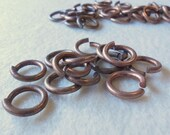 Solid Red Brass Heavy Duty Large Jump Rings (20) Steampunk, Unusual, Industrial