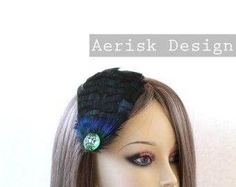 Iridescent green blue feather Derby feather fascinator, AVERIE design (5 fastener option) kentucky derby, black friday,mardi gras,speakeasy