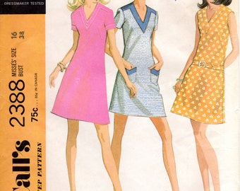 1970s V Neck Dress Pattern - Vintage McCall's 2388 - Bust 38 UNCUT