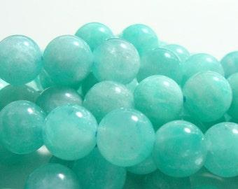 7.5-8mm, Beautiful Amazonite Azure Blue Smooth Round Beads
