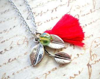 Red Necklace Red Jewelry Green Necklace Silver Leaf Necklace Woodland Leaf Necklace Red Tassel Necklace Nature Leaf Jewelry Woodland Jewelry