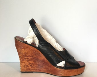 10 M / 1970's Platform Shoes / Corelli / Leather and Wooden High Heel Sandals / Wooden Summer Wedges / Made in Brasil / Black Leather